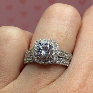 Jewelry - 14k white gold ring set wedding engagement diamond